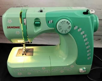 Green Teal Hello Kitty Sewing Machine 11706 Sew Pretty, Sew Perfect Janome