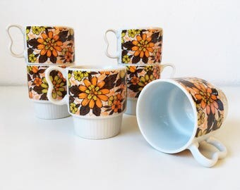Vintage Mid Century Two Finger Stacking Pedestal Mugs + Set of 6 + Bright Orange Yellow Brown Floral + Groovy Flower Power + Made in Japan