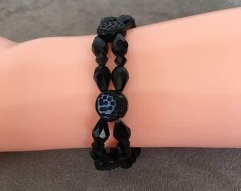 Black bracelet.  Black elastic bracelet