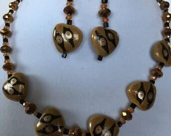 Beige black necklace earrings bracelet set, handmade