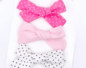 Baby Girl hand tied bow set of 3 - Nylon Headbands - Hair clip - Infant / Toddler /  Fabric Hair Bows / Clips -  polka dots - pink - white