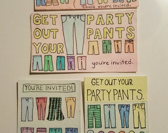 Party Pants- Set of 4 invitations