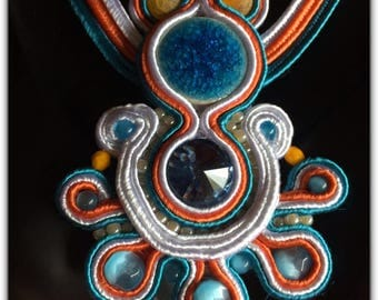 French made viscose Soutache pendant.