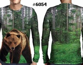 New ultramodern 3D  High Quality  Hunting Beer Forest Mens  Long Sleeve Brown T-shirt