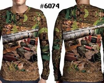 New ultramodern 3D  High Quality  Hunting Mumps Forest Mens  Long Sleeve Brown T-shirt