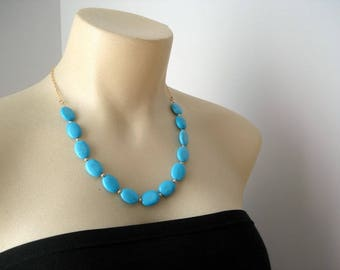 Big Turquoise Necklace in Gold, Statement Blue Necklace, Chunky Gemstone Necklace, Collier Turquoise, Monochrome Necklace, Gift Idea