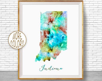 Indiana State Indiana Decor Indiana Print Indiana Map Art Print Map Artwork Map Print Map Poster Watercolor Map ArtPrintZone Christmas Gifts