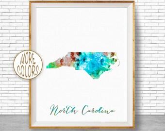 North Carolina State Carolina Print North Carolina Map Art Print Map Print Map Poster Watercolor Map Office Poster ArtPrintZone