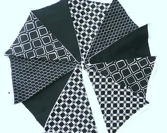 Black & White Bunting. Geometric Design, Modern Fabric Bunting, Dinning Room Decor.Made to order..