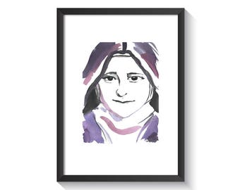 Saint Therese the Little Flower Original Watercolor Print