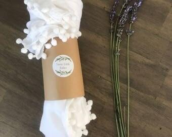 Mini Pom Pom Swaddle Blanket   Muslin Cotton Blanket   Baby Shower Gift   White Baby Blanket   Baby Gift  