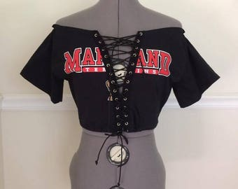 University of Maryland Off the Shoulder Lace Up Tee