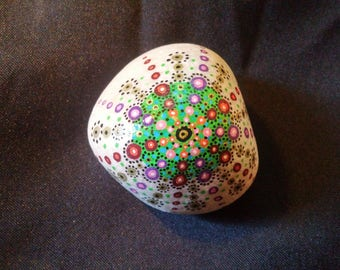 Colorful mandala painted Pebble paperweight