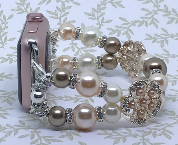 "Apple Watch Band, Women Bead Bracelet Watch Band, iWatch Strap, Apple Watch 38mm, Apple Watch 42mm, Peach Brown Cream Size 6 1/2"" - 6 3/4"""