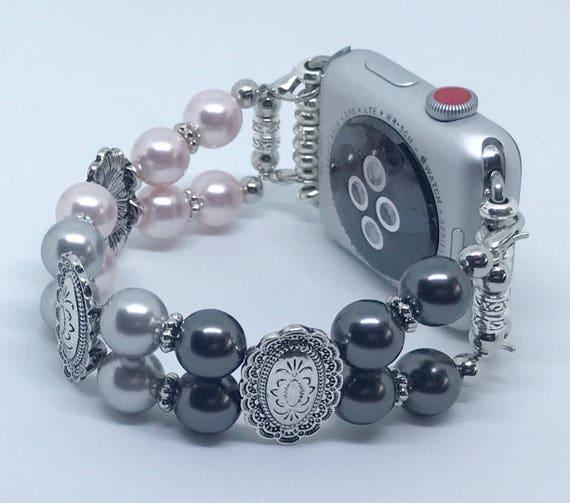 "Apple Watch Band*, Women Bead Bracelet Watch Band, iWatch Strap, Apple Watch 38mm, 42mm, Pink Silver Black Swarovski Pearl Size 7"""