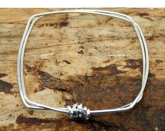 Square Sterling Silver Sator Bangle  (YB005)