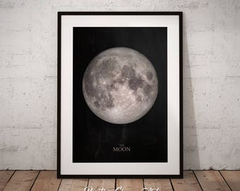 Full Moon Print, Moon Phase Print, Full Moon Wall Art, Moon Phase Art Print, Lunar Art Print, Moon Phase Decor, Moon Poster, La Luna Print