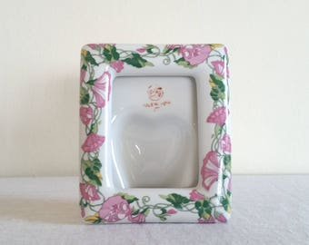 WBI Floral Ceramic Frame, Standing Photo Frame, WBI China Frame, Vintage Flower Frame