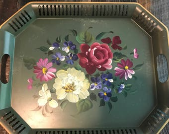 PRICE REDUCED Tole Tray Vintage Tole Painted Flower Tray