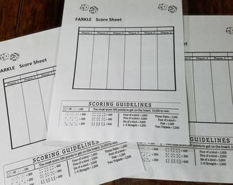 Laminated Farkle Scorecard with Rules (3)