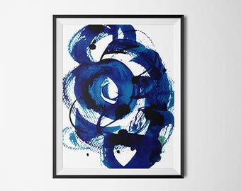 Blue Spiral A, watercolor, brush, blue,abstract, Zen, spiral, blue and white, contemporary