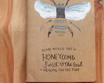 Kind Words Are Honeycomb, Prayer Journal, Hand Painted Notebook, Lined Pages