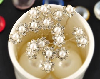 10PCS Wedding Hair Pins Crystal Pearl Flower Bridal Hairpins Bridesmaid Hair Clips Women Hair Access