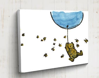 Winnie The Pooh Nursery Print, CANVAS GALLERY WRAPS, Pooh New Baby Gift, Winnie the Pooh Holding Balloon, Winnie the Pooh Quote