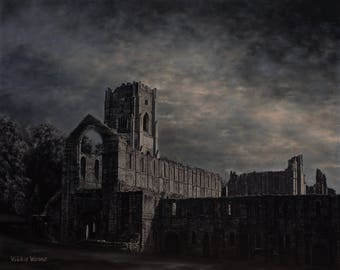 Moonlight Over Fountains Abbey, Original Oil Painting