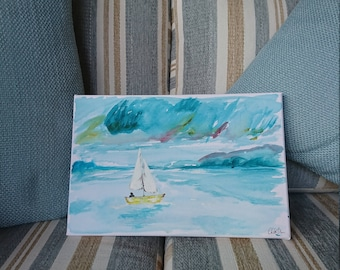 Abstract Hand Painted - Sail Boat at Sea.