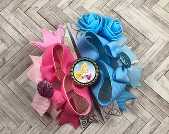 Disney aurora hair bow, sleeping beauty hairbow, girl hair accessories