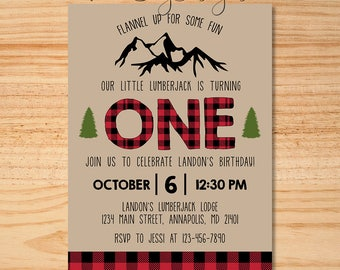 Lumberjack Invitation, Lumberjack Birthday Invitation, Lumberjack Party, Plaid Birthday Invite, Lumberjack Birthday, Woodland Birthday