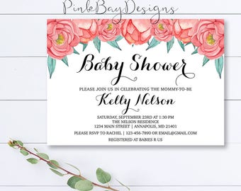 Floral Baby Shower Invitation, Pink Floral Baby Shower Invite, Baby Girl Invite, Floral Shower Invite, Printable Shower Invite, Girl Shower
