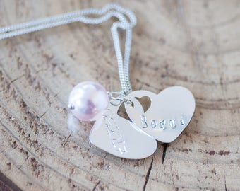 Double Heart Charm Necklace Hand Stamped Personalized Jewelry Swarovski Pearl Bridesmaid Necklace Initial Necklace Bridesmaid Gift Idea