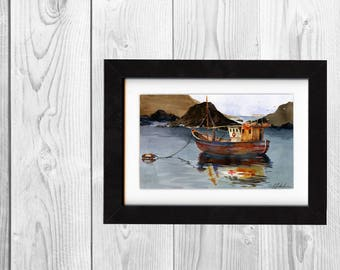 original painting, watercolor, beach painting, boat artwork, wall art, saltwatercolors, free shipping, ocean art, sea, beach, scenery, art