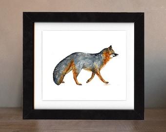 fox art print, gray fox, fox artwork, fox gift idea, fox art, fox decor, fox wall art, fox nursery, wildlife art, art print, saltwatercolors