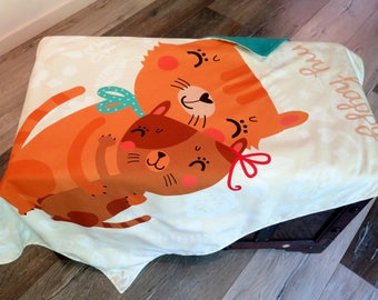 Blanket, bedspread, blanket happy cat