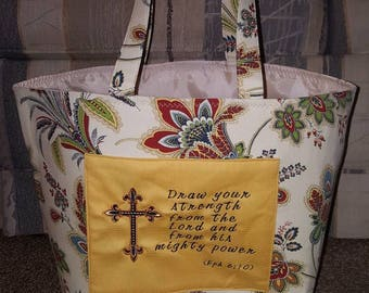Hand made inspirational lined tote/bag.