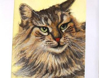 watercolor tabby cat, Calico cat watercolor, watercolor painting, Calico cat tabby cat handpaint