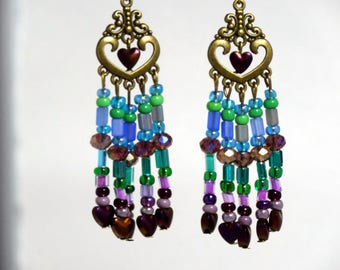 Valentine's gift Heart shaped chandelier earring with multi-color Czech beads and  purple heart beads