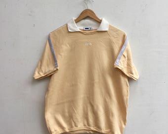 15% Sale Vintage FILA Collar Sweater Fila Biela Italia Shortsleeve Cream Sweatshirt Size M #314