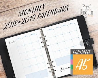 Monthly Planner 2018 2019, A5 Bullet Journal Inserts, A5 Size Printable TN, Binder Planner Inserts, A5 Calendar Insert, Month On Two Pages