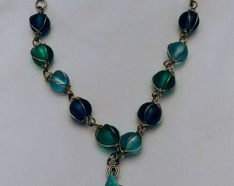 Blue and green wire wrapoed necklace