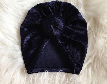Navy Blue   Velvet   Top Knot Turban