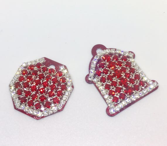Ruby Red Fire Hydrant or Stop Sign Crystal Rhinestone Dog Cat Pet ID Engraveable Tag for Collar, 5 Fonts, Clip Art - High Quality - USA