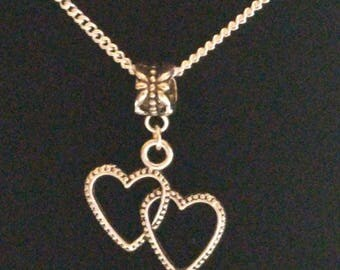 Sterling silver chain with double heart charm