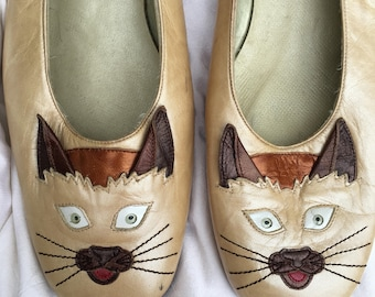Cat Face Oyster Gold Leather Flat Shoes by Margaret Jerrold