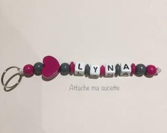 Duo Keychain girl pink wood beads