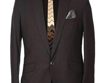 Dapper Tie - Gold Hex ZigerZager Tie ,NeckTie , Neck Tie Modern Geometric Tie Honeycomb  zig zag Hexagon Tie Futuristic Tie Wedding)