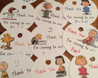 12 Peanuts Gang Party Favor Thank You Tags
